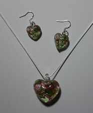 Pink Stripe Design Murano Glass Heart Earrings & Necklace Set #Valentine