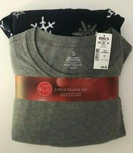 Men's Sleep Top & Microfleece Sleep Lounge Pants Pajama Set -Snowflake Navy Blue