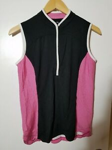 1 NWT ZERO RESTRICTION WOMEN'S S/L POLO, SIZE: SMALL, COLOR: BLACK/PINK (J81)