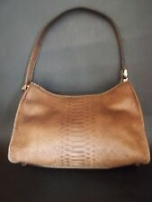 LIZ CLAIBORNE NYC PURSE Faux Snake Medium Brown Three Compartment One Zippered