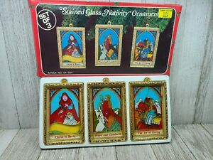 Vintage Stained Glass Nativity Christmas Ornaments in Box -Set of 3 Peace Joy