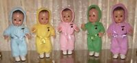 "♚1930's 12"" MADAME ALEXANDER DIONNE QUINTUPLET COMPOSITION DOLLS IN SNOW SUITS"