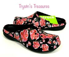Crocs Freesail Graphic Clogs womens Size 7 ROSE/BLACK *NEW* >> HARD TO FIND