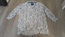 96 NEU Cream DK Damen Bluse Hemd Top Shirt Gr.L Tunika Creme