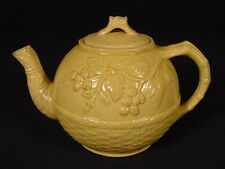 VERY RARE 1800s TEAPOT BASKET WEAVE & BLACKBERRY YELLOW WARE