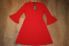 NEW&TAGS BOOHOO red skater dress SIZE 10 bell sleeve party occasion ruffle