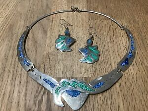 VINTAGE MEXICAN ALPACA SILVER LAPIS AND TURQUOISE NECKLACE & EARRINGS SET