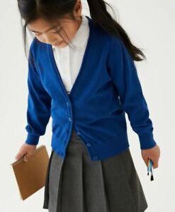 NEW GIRLS EX M & S ROYAL BLUE COTTON RICH SCHOOL CARDIGAN Age 4 - 5 yrs SS7