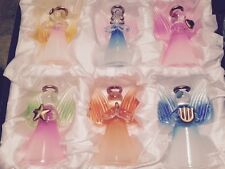 6 colorful free standing or hanging glass angel ornaments in gift box NEW ITEM