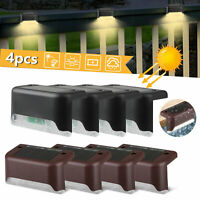 4Pcs Solar Powered LED Deck Lights Outdoor Garden Path Stairs Step Fence Lamp
