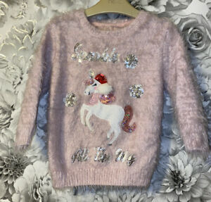 Girls Age 3-4 Years - Fluffy Christmas Jumper