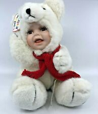 """Cuddle Kids 2000 Peter Polar Bear Porcelain Face New With Tags 9"""" Geppeddo"""