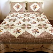 Patchwork & Applique Cotton Quilted Bedspread Set 3PC Queen 230x240cm NEW