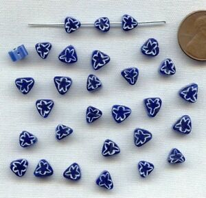 24 VINTAGE GLASS MILLEFIORI BLUE SAPPHIRE STAR CHEVRON TRIANGLE TRADE BEADS 202A