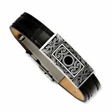 Decorative Accent Bracelet Msrp $70 Chisel Stainless Steel Black Leather with