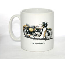 Motorbike Mug. BSA A10 Golden Flash and tank badge illustrations.