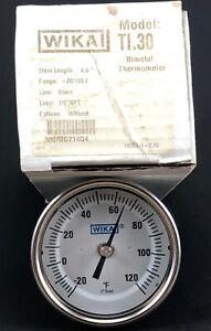 """Wika Model TI.30 Bimetal Thermometer -20/120 F 4.0"""" Stem"""
