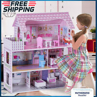 Girls Playhouse Dollhouse Kids Barbie Dream House W/ Furniture Fun Play Set Pink