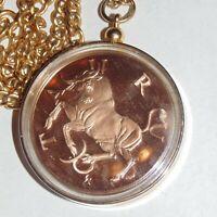Vintage 1970 Franklin Mint Taurus Zodiac Gilroy Roberts bronze medal necklace