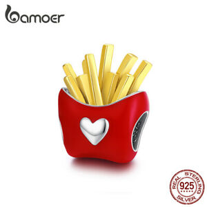 BAMOER S925 Sterling silver DIY Charm Red Delicious fries For European Bracelet