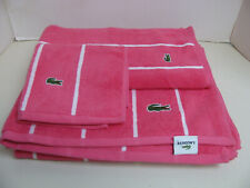 Lacoste 3 Piece Bath Towel Set - Hot Pink with White Stripes - New