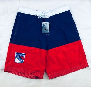 "New York Rangers NHL NHL 10"" Lace Up Classic Board Shorts Swim Surf Trunks Men"