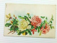 Vintage Postcard 1911 Yellow and Pink Floral Rose Embossed