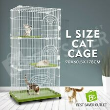 Multi-Tier Cat Cage Portable Pet Enclosure Wire Crate with 6 Wheels Petscene