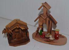 Carved Wood  Nativity Mary Joseph Jesus Ornament Lot