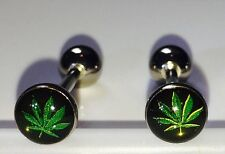 2 pc 14G Marijuana Leaf Tongue Nipple Barbell Piercing