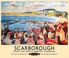 Scarborough Port Plage Baie Vintage Britannique Publicité de Chemin Fer Qualité