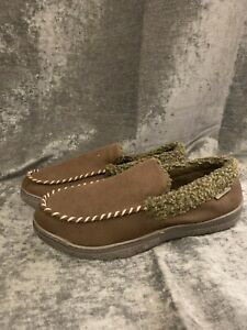 Mens Brown Slippers Dearfoams UK 10-11 (Large) NEW FREE NEXT DAY P&P (V)