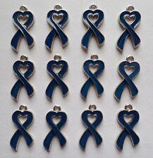 12 Enamel Blue Ribbon Heart Cancer Awareness Charms Jewelry Earrings Making B4