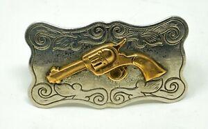 Nickel Western Revolver Belt Buckle - Chamber Belt Co. USA