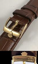 ROLEX 16mm Yellow Buckle 19mm Crocodile Pattern Leather Strap by swisslogobuckle