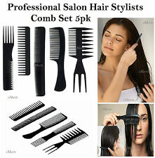 5 SALON COMB HAIRDRESSING SHOWER WIDE TOOTH DETANGLER HAIR BRUSH COMBS SET