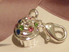 Lobster Clip On Silver Diamante Cupcake/Muffin - Fit Carrier Bracelet