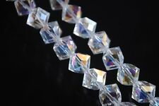 Bulk 10pcs 10mm Diagonal Cube Square Faceted Crystal Glass Loose Beads Clear AB
