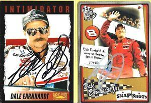 DALE EARNHARDT SR -- DALE EARNHARDT JR  -  Autographed Cards