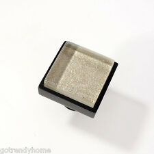 Metallic Gray Crystal Glass Cabinet Black Metal Knob Drawer Square Handle Modern