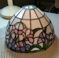 Vintage Tiffany Style Stained Glass Lamp Shade Floral Blue Pink Purple 9.5""