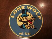 """LONE WOLF  Embroidered Iron On  PATCH Rat FINK  Hot Rod, Racing biker  3"""""""