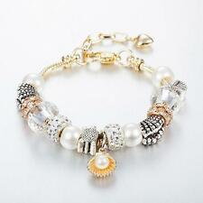 Gold Plated Rhinestone Crystal European Charm Pearl Beads Bracelet Lady Bangle