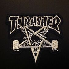 """3"""" THRASHER MAGAZINE X HUF/Skate Embroidered Iron On/Sew On Patch USA Seller"""