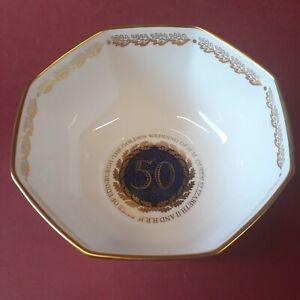 Royal Worcester Limited Edition 9/50 Commemorative Golden Wedding Octagonal Bowl