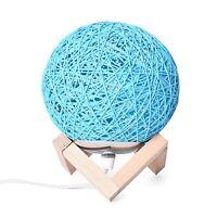 Home Room Desk Living Decor Party Night Light Gift Blue Rattan Ball Table Lamp
