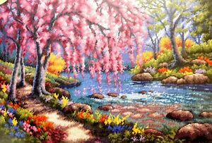 """DIMENSIONS Gold Collection """"Cherry Blossom Creek"""" Counted Cross Stitch Kit"""