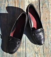 AEROSOLES BLACK LEATHER PUMPS HEELS, ROUND TOE, SLIP ON SHOES, WOMEN'S 9½ M