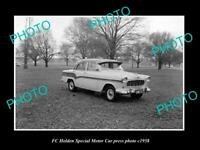 OLD POSTCARD SIZE PHOTO OF 1958 GMH FC HOLDEN SPECIAL CAR PRESS PHOTO 1