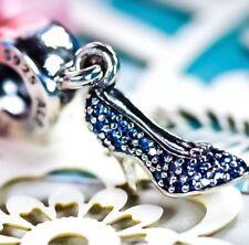 Genuine PANDORA Silver Disney Cinderella Slipper Shoe Charm Blue Dangle S925 ALE